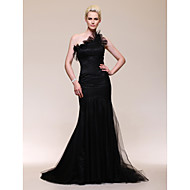 TS Couture Formal Evening Dress - Vintage Inspired Celebrity Style Trumpet / Mermaid One Shoulder Sweep / Brush Train Tulle withRuffles