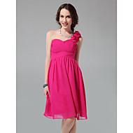 Lanting Knee-length Chiffon Bridesmaid Dress - Fuchsia Plus Sizes / Petite A-line / Princess One Shoulder / Sweetheart