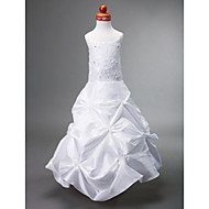 A-line Scoop Floor-length Taffeta Flower Girl Dress