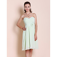 Homecoming Bridesmaid Dress Knee Length Chiffon Sheath Column Sweetheart Party Dress