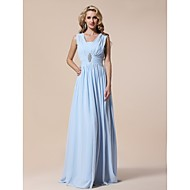 Prom / Military Ball / Formal Evening Dress - Sky Blue Plus Sizes / Petite Sheath/Column V-neck Floor-length Chiffon