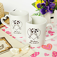 Personalized Heart-shaped Double Mugs Set