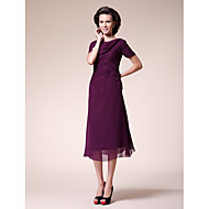 Lanting A-line Plus Sizes / Petite Mother of the Bride Dress - Grape Tea-length Short Sleeve Chiffon