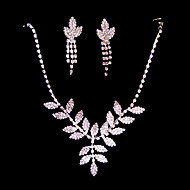 Clear Shining Rhinestone And 925 Silver Necklace And Earrings Jewelry Set