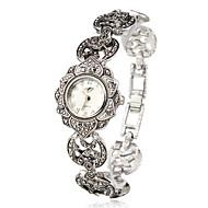 아가씨들 패션 시계 팔찌 시계 일본 쿼츠 석영 합금 밴드 꽃패턴 우아한 실버