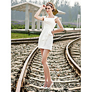 Lan Ting Sheath/Column Plus Sizes Wedding Dress - Ivory Short/Mini Square Satin
