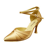 Non Customizable Women's Dance Shoes Modern/Ballroom Satin Stiletto Heel Black/Red/Gold