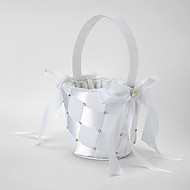 Flower Girl Basket In White Satin With Ribbon and Rhinestones