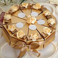boîte de faveur or gâteau avec des fleurs (jeu de 10)