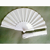 Classic White Fabric And Plastic Folding Hand Fan (Set of 4)