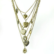 Bronze Tint Layered Heart Lockets Necklace