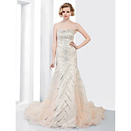 TS Couture® Formal Evening Dress - Open Back Plus Size / Petite Trumpet / Mermaid Strapless / Sweetheart Court Train Organza with Beading / Draping