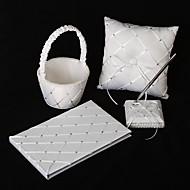 diamant rutenett mønster hvit sateng bryllup samling sett (4 stk satt)