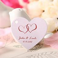 personalizado coração tag favor em forma - corações cor de rosa (conjunto de 60)