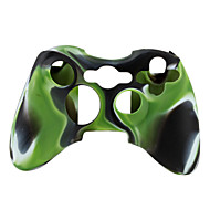 capa de silicone protetora dual-cores para xbox 360 controlador (verde e preto)
