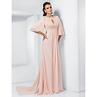 Prom / Formal Evening / Military Ball Dress - Plus Size / Petite A-line / Princess Jewel Sweep/Brush Train / Watteau Train Chiffon