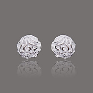 Gorgeous Silver Plate Rose Stud Earring