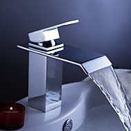 Contemporain Set de centre Cascade with  Valve en céramique Mitigeur un trou for  Chrome , Robinet lavabo