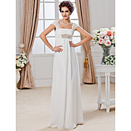 Lan Ting Sheath/Column Plus Sizes Wedding Dress - Ivory Floor-length Square Chiffon