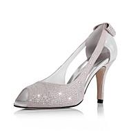 læder øvre stilethæl hæl peep toe med rhinestone / bowknot i hæl mode sko