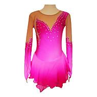 Imported Velvet Fabric Crystal Long Sleeve Ice Skating Dress