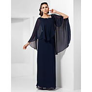 Formal Evening/Military Ball/Wedding Party Dress - Dark Navy Plus Sizes Sheath/Column Scoop Floor-length Chiffon
