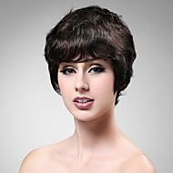 senza cappuccio corto marrone parrucca onda 100% capello umano