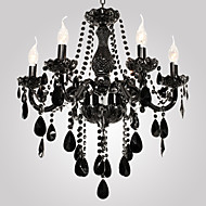 Chandelier Black Crystal Modern 6 Lights