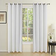 (Um par) cortina sólido puro off tela branca eco-friendly