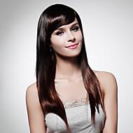 sin tapa extra larga de alta calidad de grado sintético de color marrón oscuro peluca de pelo liso (0463-lpp496)