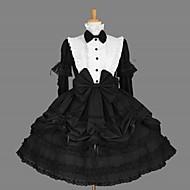 Long Sleeve Knee-length Black Cotton Classic School Lolita Dress with Cravat