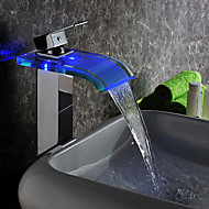 Contemporary LED Waterfall Hydroelectric Power Glass Bathroom Sink Faucet Chrome Finish(Tall)