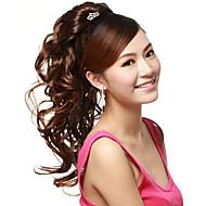 클로 클립 합성 갈색 물결 모양의 긴 ponytails 헤어 조각