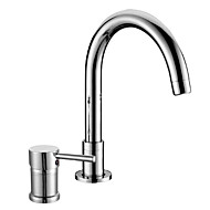 Contemporary Widespread Single Handle Two Holes in Chrome Bathroom Sink Faucet