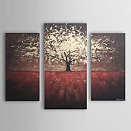 Handgeschilderde Bloemenmotief/Botanisch Drie panelen Canvas Hang-geschilderd olieverfschilderij For Huisdecoratie