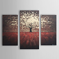 Hånd-malede Blomstret/Botanisk Tre Paneler Canvas Hang-Painted Oliemaleri For Hjem Dekoration