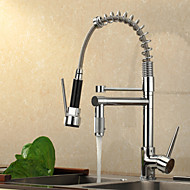Contemporain Pull-out / Pull-down Montage Avec spray démontable Douche with  Valve en céramique Mitigeur un trou for  Chrome , Robinet de