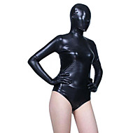 Black Shiny Metallic Leotard Spandex Zentai Half Suit