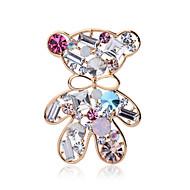 Summer jewelry crystal cute bear brooch for women