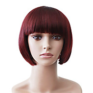 Capless Short Red Straight High Quality Synthetic Japanese Kanekalon Wigs