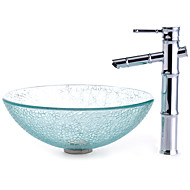 Transparent Cracked Style Tempered Glass Vessel Sink with Bamboo Style Faucet, Mounting Ring and Water Drain