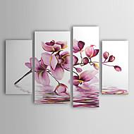 Ručno oslikana Cvjetni / Botanički Četiri plohe Platno Hang oslikana uljanim bojama For Početna Dekoracija