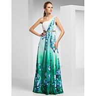 Sheath/Column One Shoulder Floor-length Chiffon Evening/Prom Dress