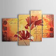 Handgeschilderde Bloemenmotief/Botanisch Vier panelen Canvas Hang-geschilderd olieverfschilderij For Huisdecoratie