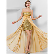 Prom / Formal Evening Dress - Plus Size / Petite Sheath/Column Strapless / Sweetheart Floor-length / Asymmetrical Chiffon / Sequined