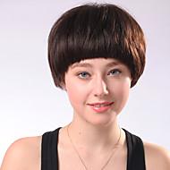Capless Kort Sjokoladebrun Straight Mixed Hair parykker Bobo stil