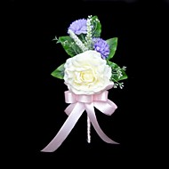 "Wedding Flowers Free-form Peonies Boutonnieres Wedding / Party/ Evening Satin / Cotton Ivory 3.94""(Approx.10cm)"