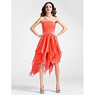 Cocktail Party Dress - Watermelon Plus Sizes A-line/Princess Strapless Asymmetrical/Knee-length Chiffon