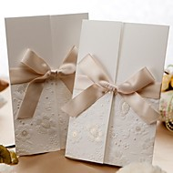 Wedding Invitation Vintage Embossed Tri-fold With Ribbon Bow (Set of 50)