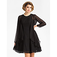 Wedding  Wraps Coats/Jackets 3/4-Length Sleeve Chiffon Black Wedding / Party/Evening T-shirt Open Front